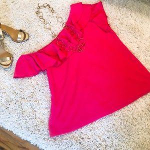 Hot pink asymmetrical ruffle neckline XL